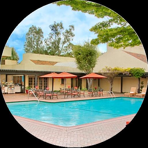 Photograph of the pool at the Sheraton Palo Alto.